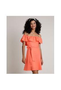 Vestido Feminino Curto Ciganinha Com Linho E Faixa Para Amarrar Coral