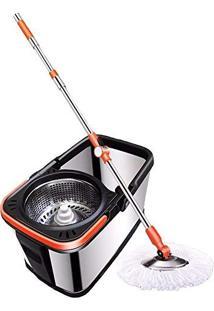 Kit Spin Mop Em Aço Inox Inquebravel Luxo Balde Com Esfregao Vassoura Com Centrifugador Inox Completo Mop Com Refil Gratis