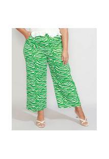 Calça Wide Reta Plus Size Alfaiataria Estampada Animal Print Zebra Cintura Alta Mindset Verde