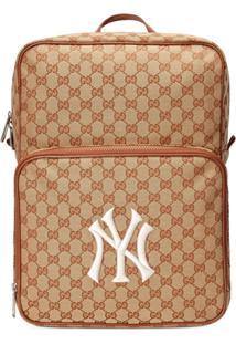 Gucci Mochila Média Com Patch 'Ny Yankees™' - Marrom