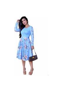 Vestido Casamento Civil Bello Vestido Godê Midi Moda Evangélica Azul Flores