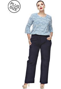 Calça Melinde Plus Size Social De Veludo Azul-Marinho