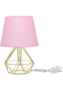 Abajur Diamante Dome Rosa/Bolinha Com Aramado Dourado - Rosa - Dafiti