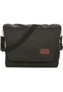 Bolsa Transversal Com Tag Da Marca - Cinza Escuro & Pretabc Design