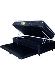 Cama Box Baú Solteiro Com Auxiliar Preto + Colchão Molas Ensacadas 0,88 X 1,88