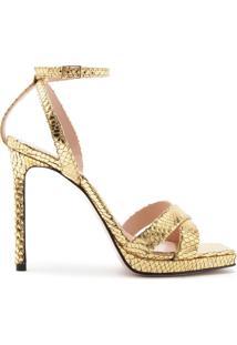 Sandália Salto Snake Gold | Schutz