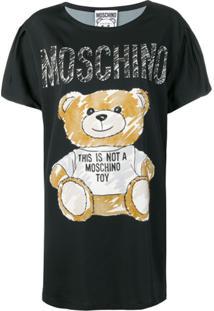 Moschino Vestido Com Estampa Teddy Bear - Preto