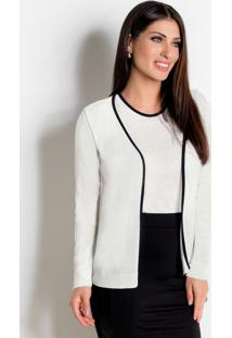 Conjunto Cardigan E Blusa Preto E Branco