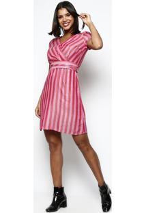 Vestido Listrado Com Transpasse- Rosa & Vermelhovip Reserva