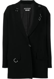 Boutique Moschino Blazer Com Aplicação - Preto