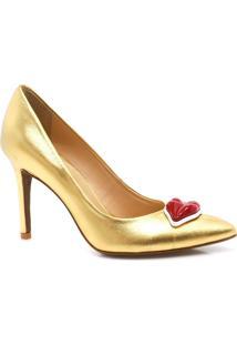 Sapato Scarpin Zariff Shoes Patches Dourado