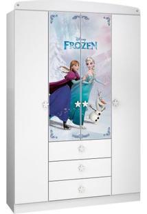 Guarda Roupa Infantil Frozen Original Disney Star 4 Portas Pura Magia