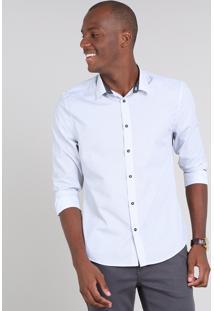 Camisa Masculina Slim Estampada De Poá Manga Longa Off White