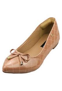 Sapatilha Bico Fino Love Shoes Matelasse Laçinho Verniz Nude