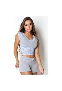 Baby Doll Bravaa Modas Short Doll Renda Pijama Curto 126 Azul
