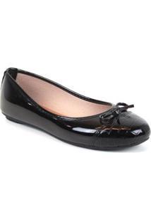 Sapatilha Tag Shoes Croco Laço Verniz Feminino - Feminino-Preto