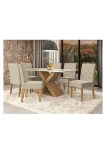 Sala De Jantar Mesa Com 6 Cadeiras Kappesberg A019 Graviola Freijó/Off