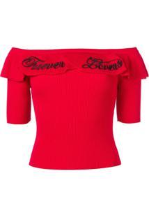 Red Valentino Blusa De Tricô Bordada Forever - Vermelho