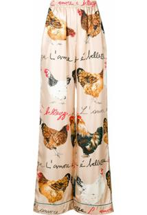 Dolce & Gabbana Calça De Seda Estampada - Neutro