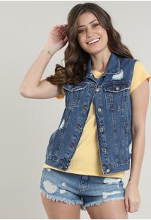 Colete Jeans Feminino Destroyed Com Bolsos Azul Médio