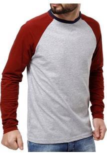 Camiseta Manga Longa Masculina Vels Cinza/Vermelho