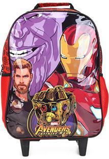 Mochila Escolar Infantil Xeryus Avengers Rodinhas - Masculino-Estampado