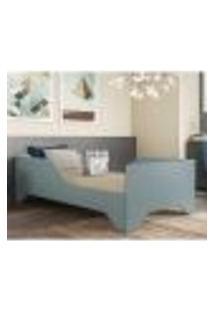 Cama Solteiro Com Barras Proteção Para Colchão 88 X 188 Cm 100% Mdf Flex Sonho Multimóveis Azul