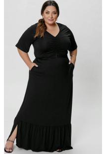 Vestido Longo Plus Size Pretocom Decote Franzido
