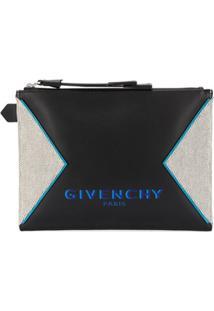 Givenchy Bolsa Clutch Com Recortes E Logo Estampado - Preto