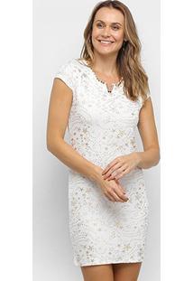 Vestido Tubinho Ouro Puro Manga Curta Estrela - Feminino-Branco