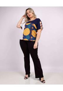 Blusa Recorte Almaria Plus Size Peri Azul