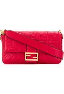 Fendi Ff Pattern Baguette Crossbody Bag - Vermelho
