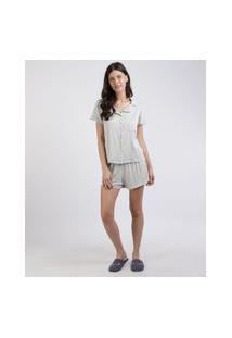 Pijama Feminino Camisa Com Bolso E Vivo Contrastante Manga Curta Cinza Mescla Claro