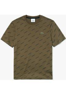 Camiseta Lacoste Live Masculina - Masculino-Verde Militar+Preto