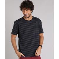 Camiseta Masculina Básica Listrada Manga Curta Gola Careca Preta CEA 4ba3a8fa19b99