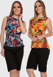 Kit 2 Blusas Estampada Floral Carbella Básica Com Laço Casual Liganete Confort Azul E Amarelo - Kanui