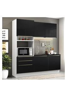 Cozinha Compacta Madesa Lux Com Armário E Balcáo 5 Portas 3 Gavetas - Branco/Preto Branco