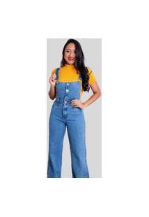 Macacão Linda Moça Exclusive Longo Jeans