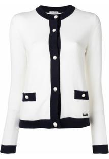 Miu Miu Cardigan Bicolor Com Botões - Branco