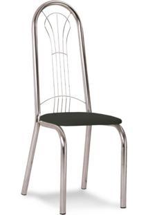 Cadeira Cromada Carmen Preta