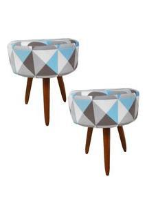 Kit 02 Puffs Banqueta Redonda Suede Estampado Triângulo Azul - Ds Móveis