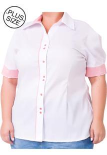 Camisa Com Viés Listrado Plus Size - Tricae