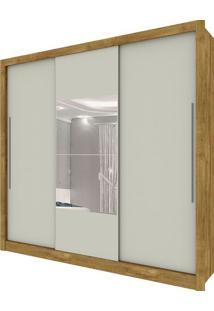 Guarda Roupa Genebra 3 Portas Com Espelho Ipê Rústico Off White