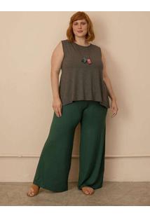 Calça Pantalona Plus Size Verde Escuro-54/56 Verde