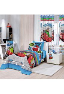 Edredom Solteiro Infantil Disney Cars Comics - Santista Azul