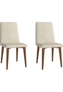 Conjunto Com 2 Cadeiras De Jantar Liv Bege