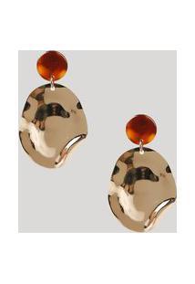 Brinco Feminino Redondo Texturizado Orgânico Dourado