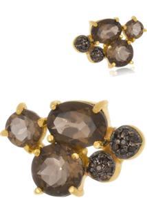 Brinco Le Diamond Cristais Lapidados - Dourado - Feminino - Dafiti