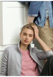 Jaqueta Básica Feminina Em Moletom Peluciado Gola Alta