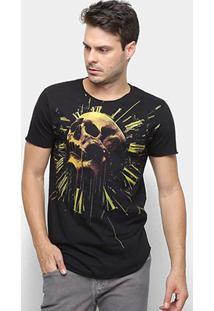 Camiseta Long Skull Clock Derek Ho Caveira Masculina - Masculino-Preto